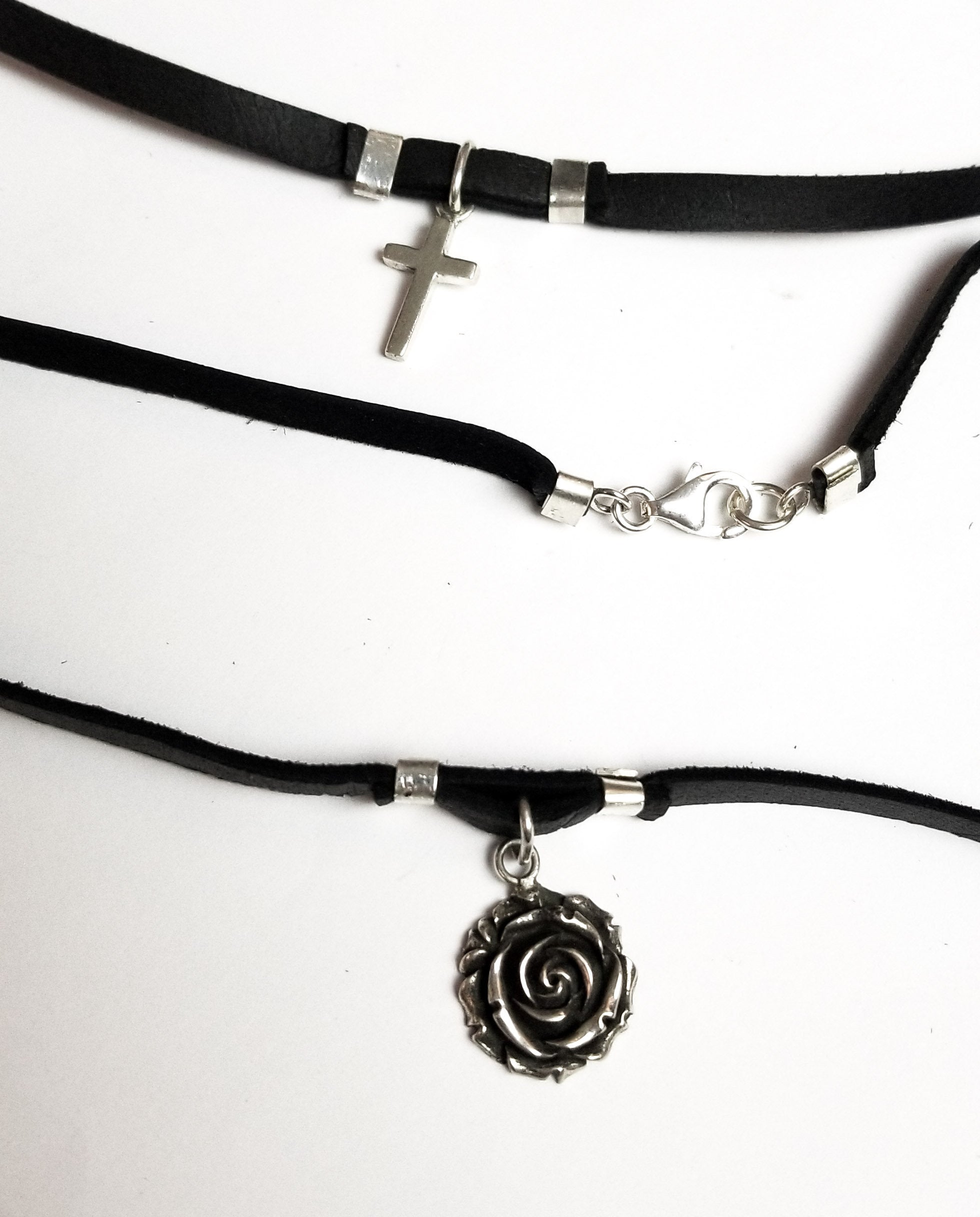 Add a Leather Choker to your favorite Pendant, Chain - Inchoo Bijoux