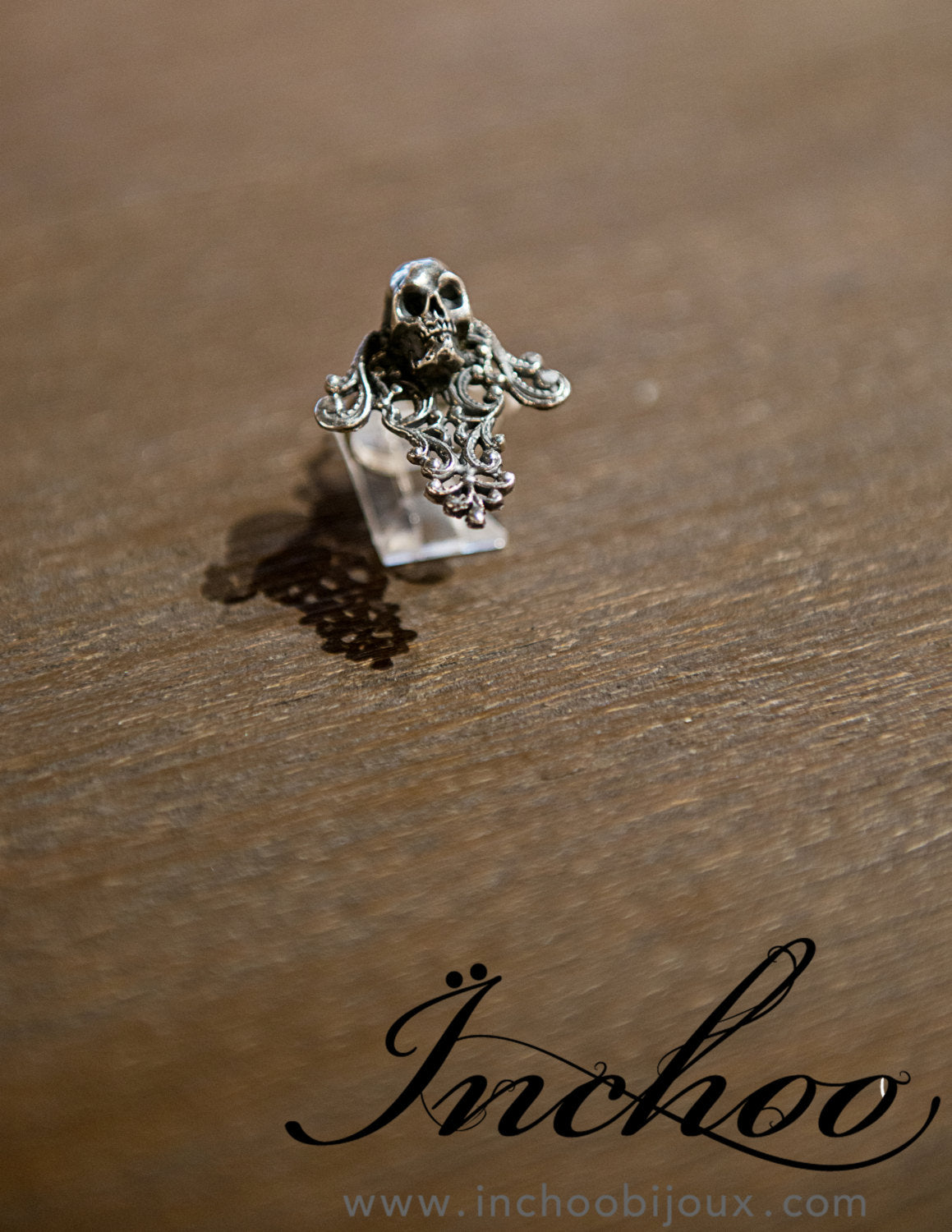 Silver Skull & Lace Cross Ring-Ring-Inchoo Bijoux-Inchoo Bijoux