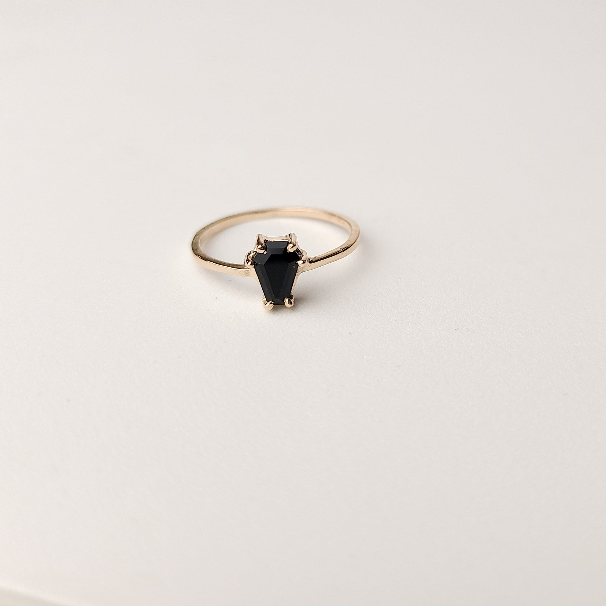 10K 14K Rose Gold Small Coffin Ring