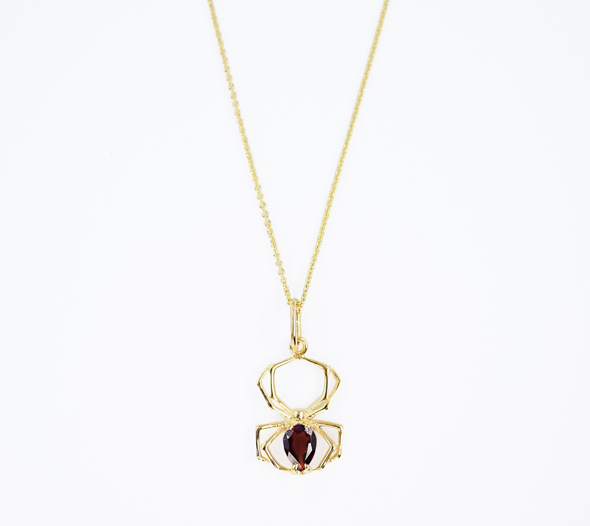 14K Yellow Gold and Garnet Spider Pendant