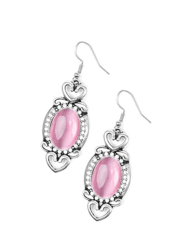 Royal Pink & Rhinestone Earrings
