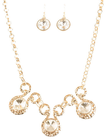 Gold & Diamonds Necklace and Earring Set