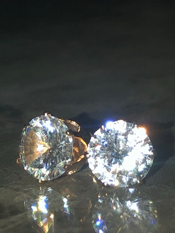 Golden Diamond Stud Earrings