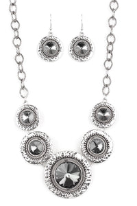 Silver with Gunmetal Crystals Necklace & Earring Set