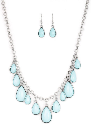Pastel Light Blue Teardrop Necklace & Earring Set