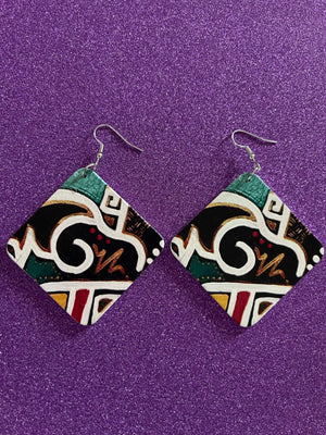 Patterned Square Multicolored Earrings