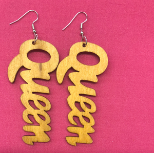 """Queen"" Wooden Earrings"