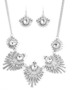 Crystals & Metal Bar Necklace & Earring Set