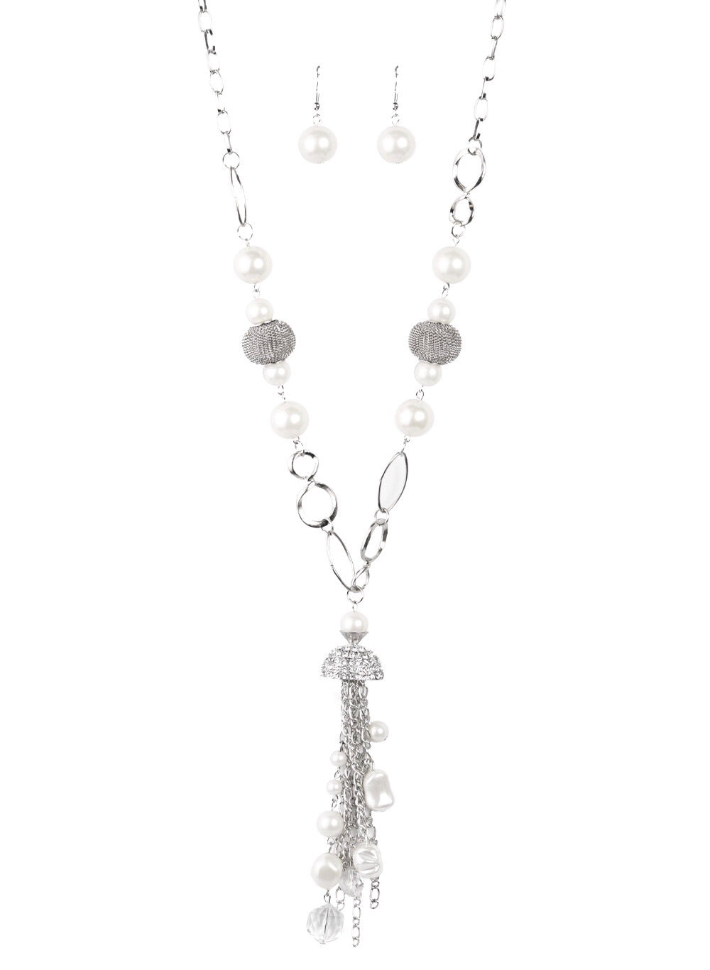 Crystal & Pearl White Charms Necklace and Earring Set
