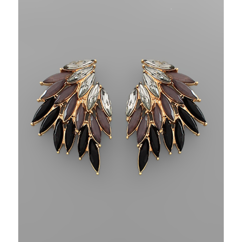 Marquise Bead Wing Earrings