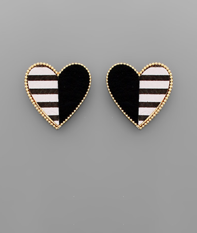 Half Stripe Heart Earrings