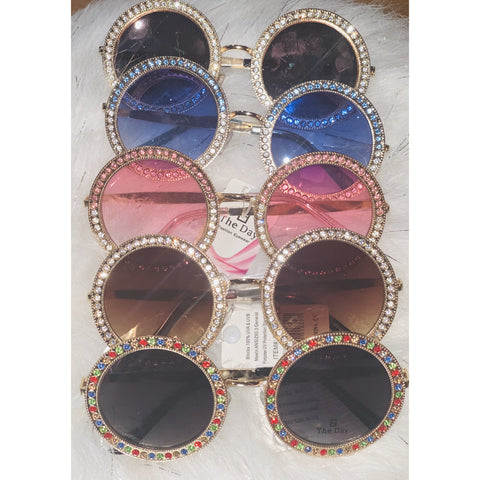 Round Oversized Bling Sunglasses