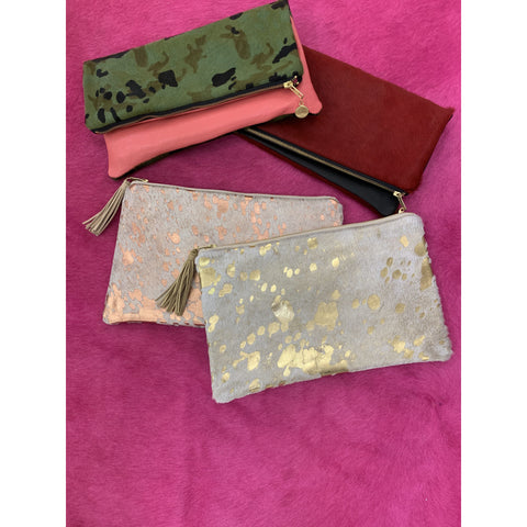 Cowhide and Leather Clutches
