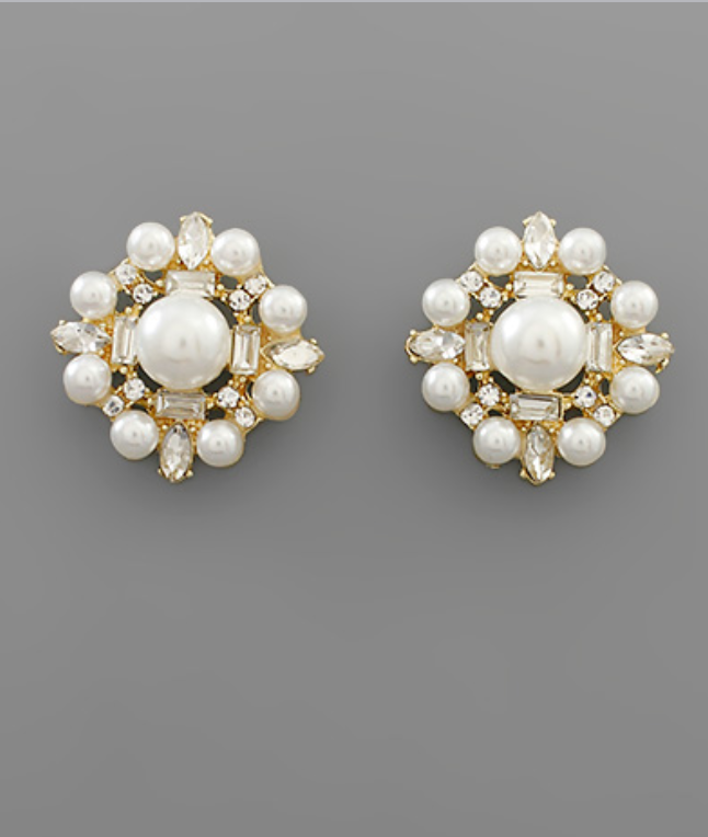 Pearl and Bead Disk Earrings