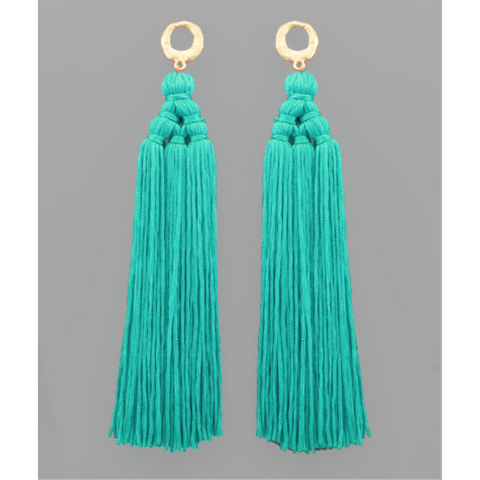 Teal Oversized Tassel Earrings