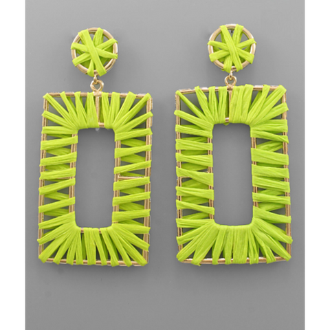 Raffia Oversize Rectangle Earrings
