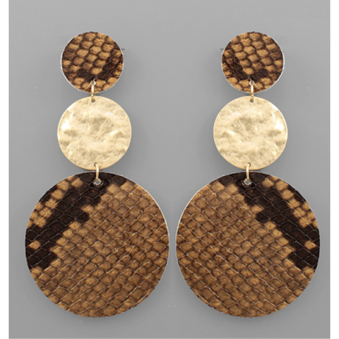 Leather Disc Link Earrings