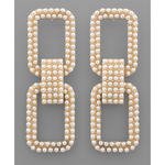 Pearl Pave Rectangle Link Earrings