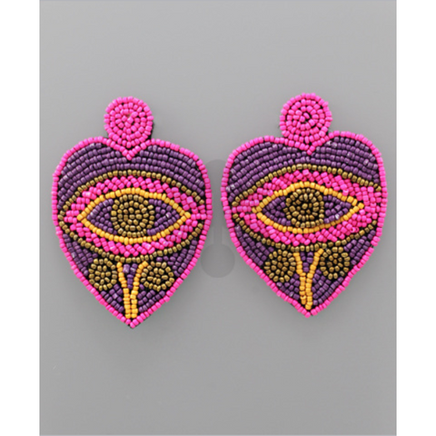 Heart Eye Bead Earrings
