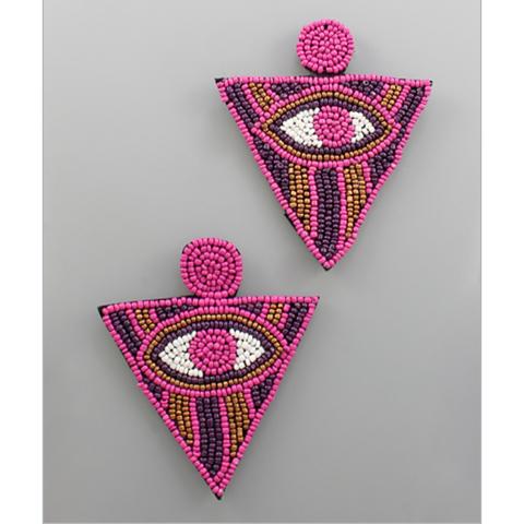 Triangle Beaded Eye Earring