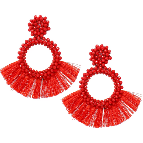 Glass Bead Hoop Fringe Earrings