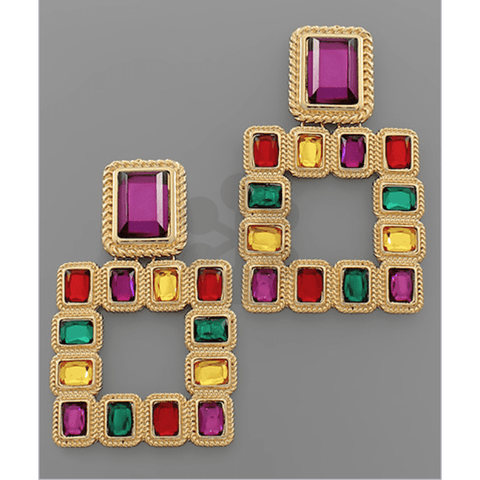 Square Multi Color Stone Earrings