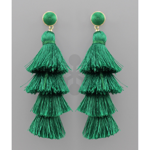 4 Tier Layered Tassel Earrings