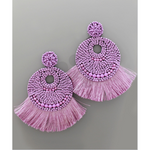 Fan Tassel & Bead Earrings