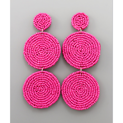 3 Tier Beaded Disc Earrings
