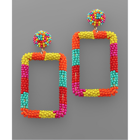 Beaded Rectangle Earrings