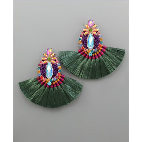 Beaded Marquise Earrings
