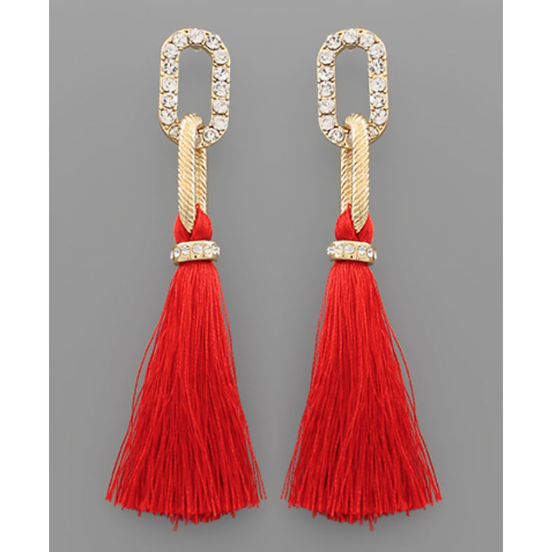 Chain Link Tassel Earrings