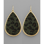 Olive Leopard Earrings