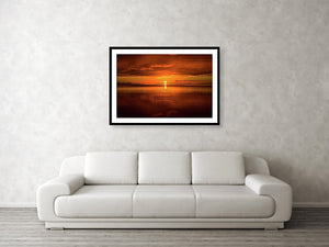 Framed fine print and wall art of an explosive sunrise over the Everglades National Park in southern Florida.
