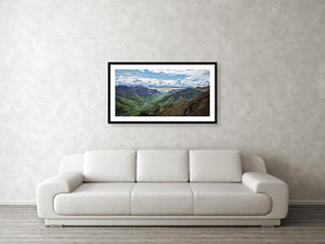Framed fine print and wall art of an explosive array of colors layering the landscape of Denali National Park in Alaska.