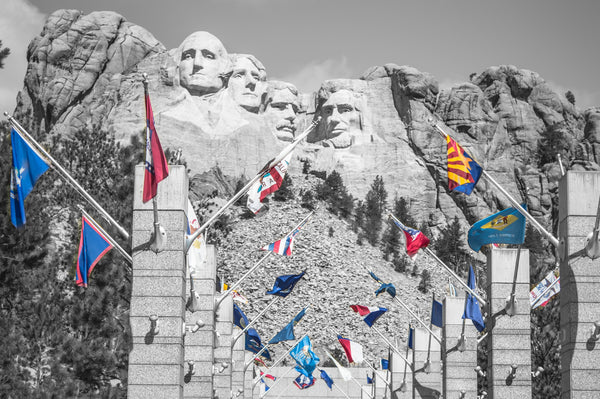 Fine Mount Rushmore National Memorial photography print of Mount Rushmore and the state flags.