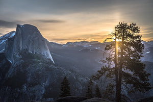 Fine photographic and art print of sunrise at Glacier Point in Yosemite National Park in California with Half Dome in the near distance and a tree in the foreground.