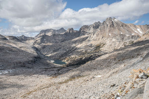 Fine Pacific Crest Trail photography print of the trail traversing over the jagged peaks of Mather Pass in California.