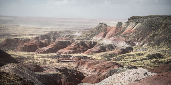 Fine Petrified Forest National Park photography print of the rugged and otherworldly martian-like landscape.
