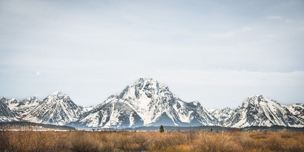 Fine Grand Teton National Park photography print of vast expanse of the Grand Teton mountain range covered in snow.