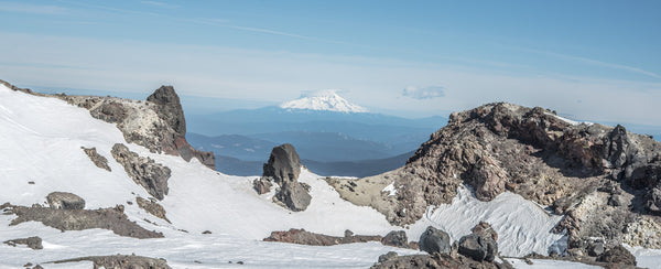 Fine Lassen Volcanic National Park photography print of a view from Mount Shasta from the top of snowy Lassen Peak.