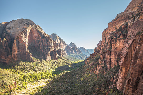 Fine Zion National Park photography print of the Zion valley walking down from Angel's Landing.