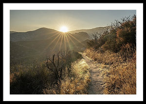 Framed fine photographic and art print of a sunrise highlighting the desert trail of the Pacific Crest Trail with mountains in the background.
