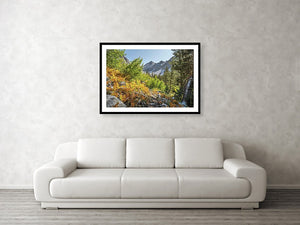 Framed fine photographic and wall art print of a multicolored autumn landscape hiking through the forested mountains of the Pacific Crest Trail.
