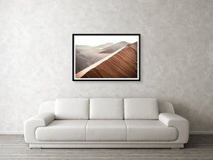 Framed fine photographic and wall art print of sunrise at Dune 45 in the Namib Desert's Sossusvlei area in Namibia.