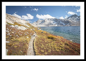 Framed fine photographic print of the Pacific Crest Trail meandering along a cold alpine lake in the High Sierra Mountain Range.