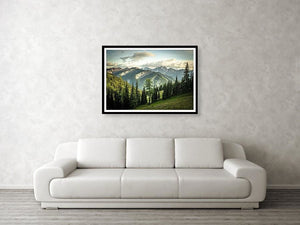 Framed fine photographic and wall art print of a sweeping mountain and evergreen vista of the North Cascades along the Pacific Crest Trail.