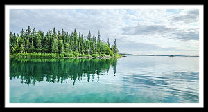 Framed fine photographic and art print of a vibrant green and blue serene and tranquil coastline of the Isle Royale National Park in Lake Superior Michigan.