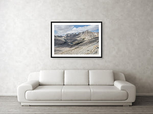 Framed fine Pacific Crest Trail photography and wall art print of the trail traversing over the jagged peaks of Mather Pass in California.