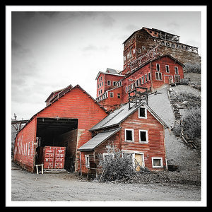 Framed fine photographic and art print of the towering red buildings of the Kennecott Mine in Wrangell St Elias National Park in Alaska.